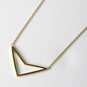 Jewelry - 925 Gold Plate Boomerang Open Arrow Necklace 18""